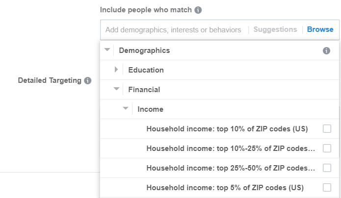 Show your ads to people who live in ZIP codes with the top household incomes