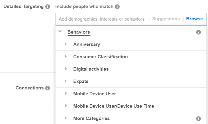 target based on behaviors