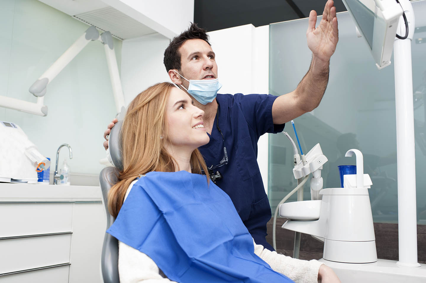 Emergency dentist with patient