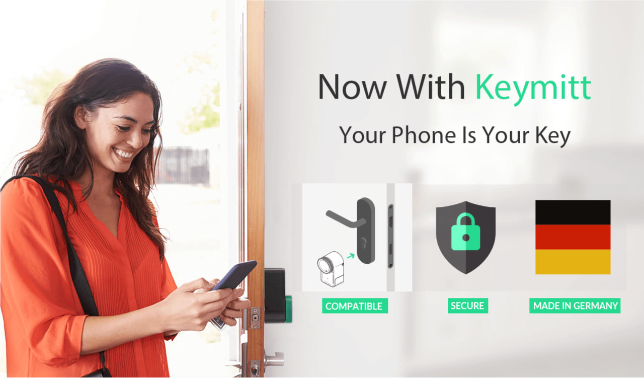 girl with smartphone and smart lock