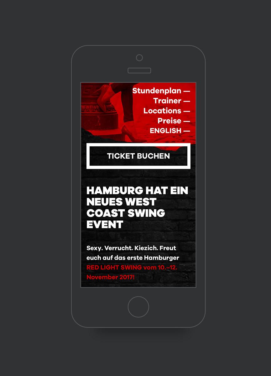 Mobile Ansicht der Red Light Swing Website