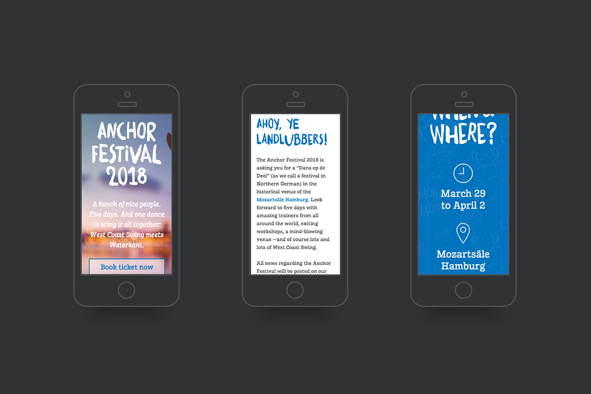 Mobile Ansicht der Anchor Festival Website