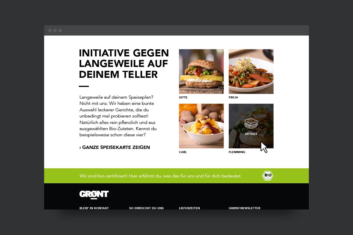 Ausschnitt aus der GRØNT Website