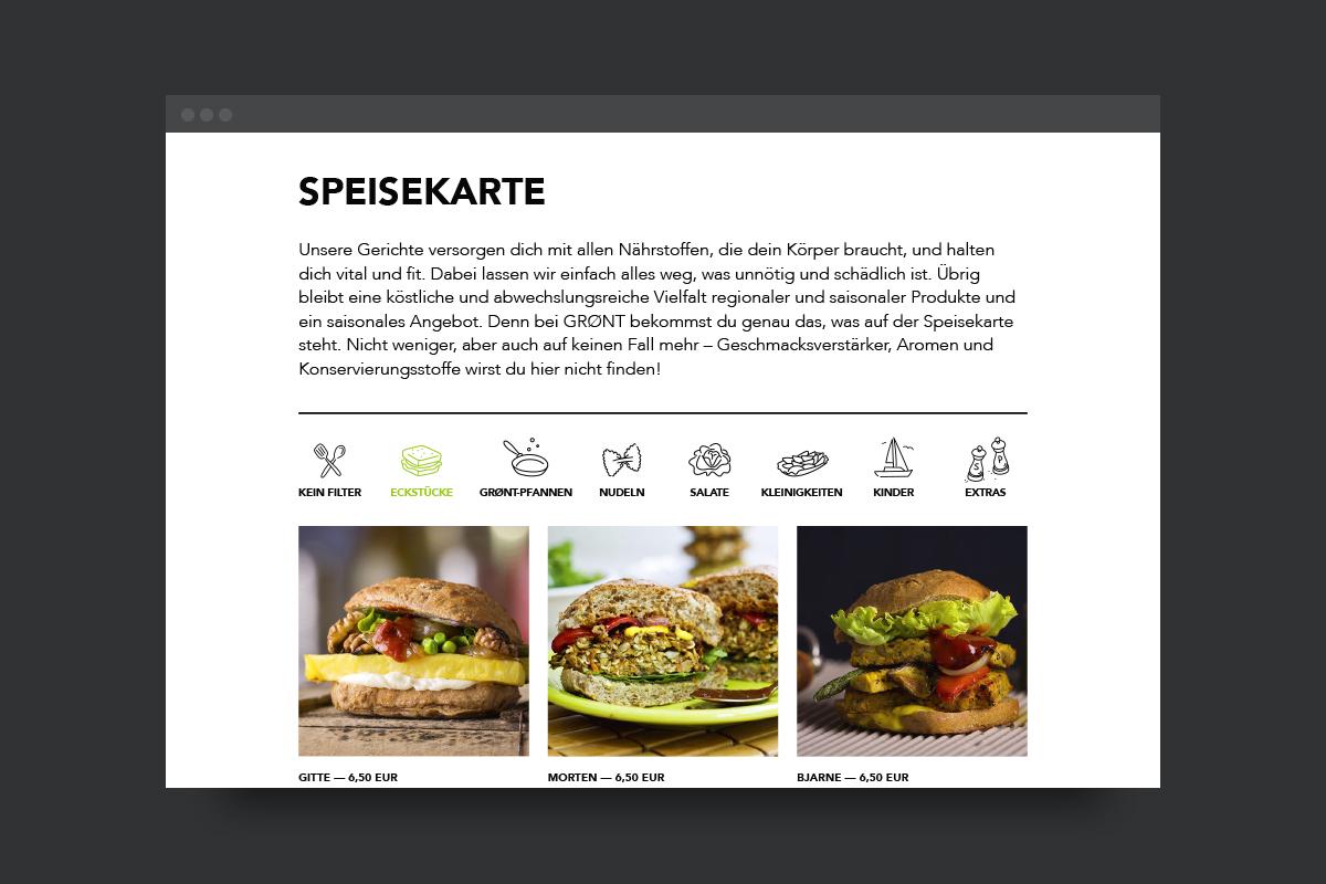 Online-Speisekarte mit Filtern
