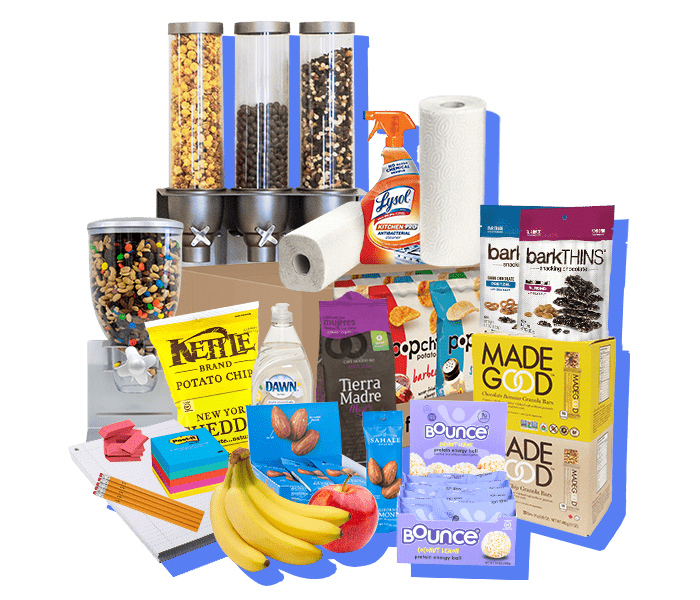 collection of office snacks and office services available in the Essential office snack subscription plan. Includes fresh fruit delivery, snack delivery, office supplies, office coffee delivery and kitchen equipment.