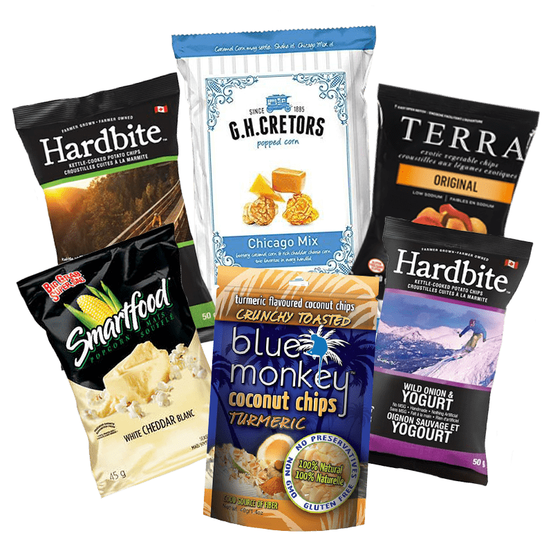 hoppier delivers chips and popcorn to the office including Hardbite, Kettle chips and Smartfood brands
