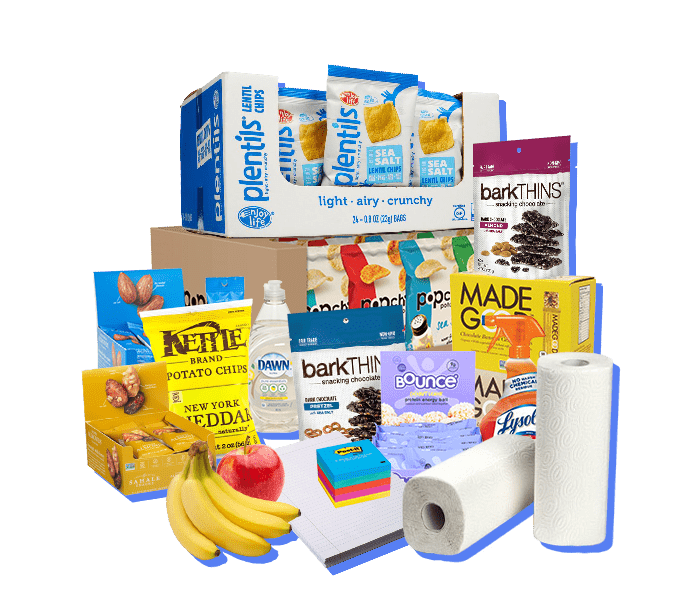 collection of office snacks and office services available in the Essential office snack subscription plan Includes fresh fruit delivery, snack delivery, office supplies and office coffee delivery.