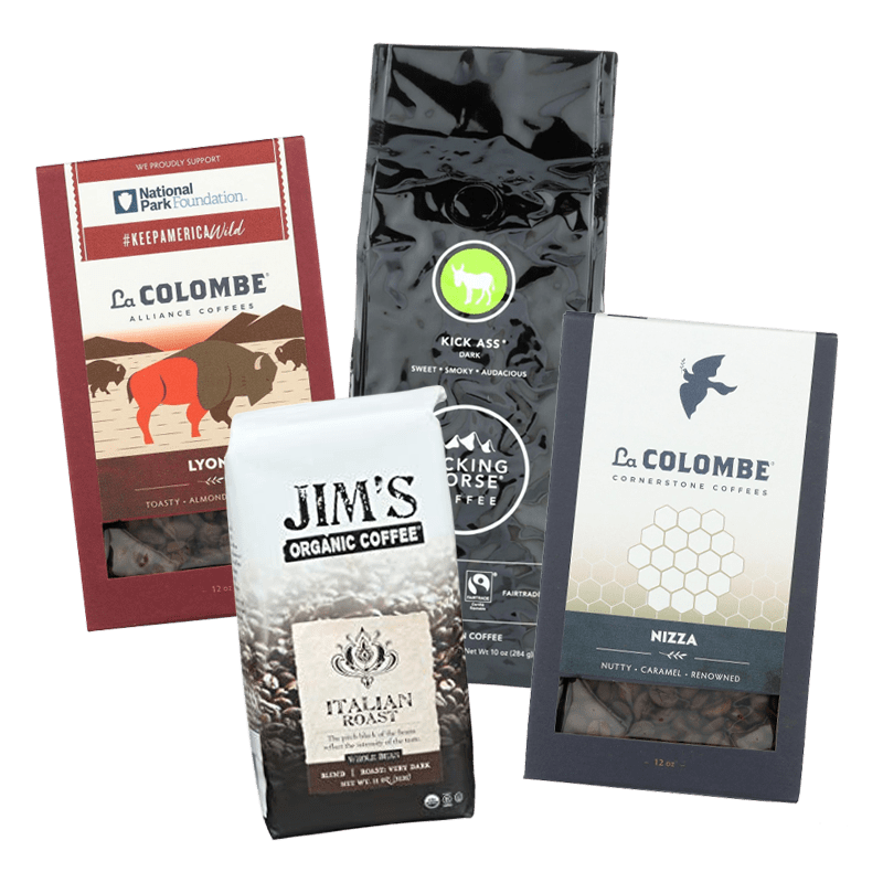 Our office coffee distributors include Colombe whole bean coffee, Jim's whole bean coffee and Kicking Horse whole bean coffee