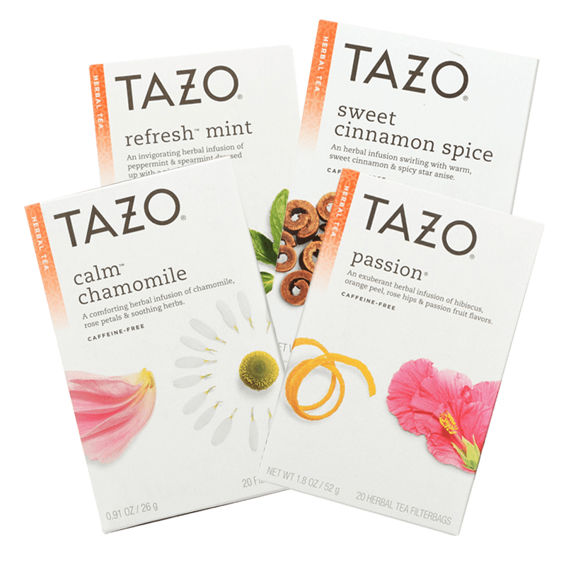 Our office coffee subscription includes Tazo chamomile, mint, cinnamon spice and passion teas