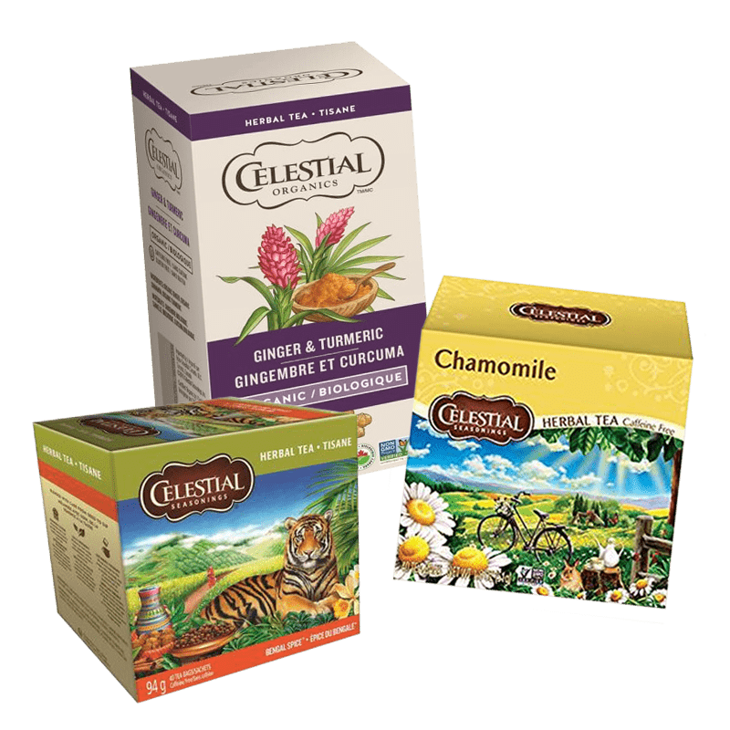 Our office coffee subscription includes Celestial chamomile, ginger and herbal tea