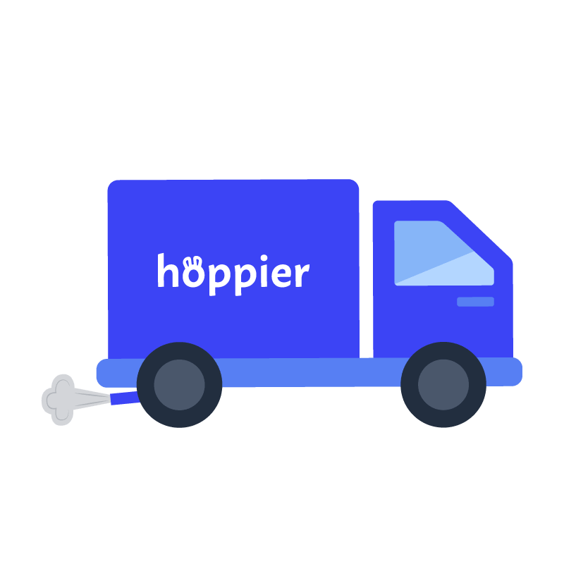 Hoppier truck showing free delivery for office snack subscription