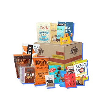collection of office snacks available in the Lite office snack subscription plan. Includes office coffee delivery, granola bars, chips, popcorn and packaged nuts for the office.