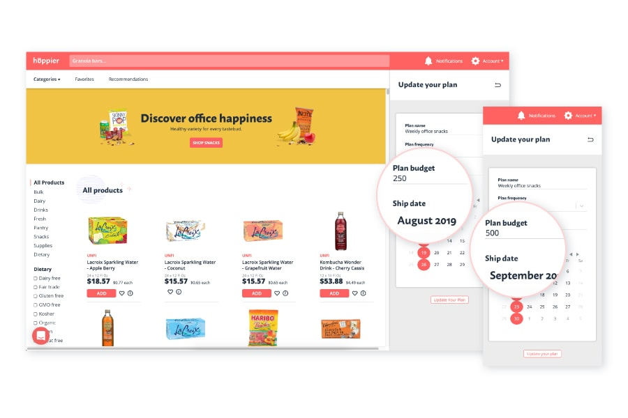 The Hoppier ordering app allows for the office snack delivery budget to be adjusted as needed in the account settings on the right side of the screen.