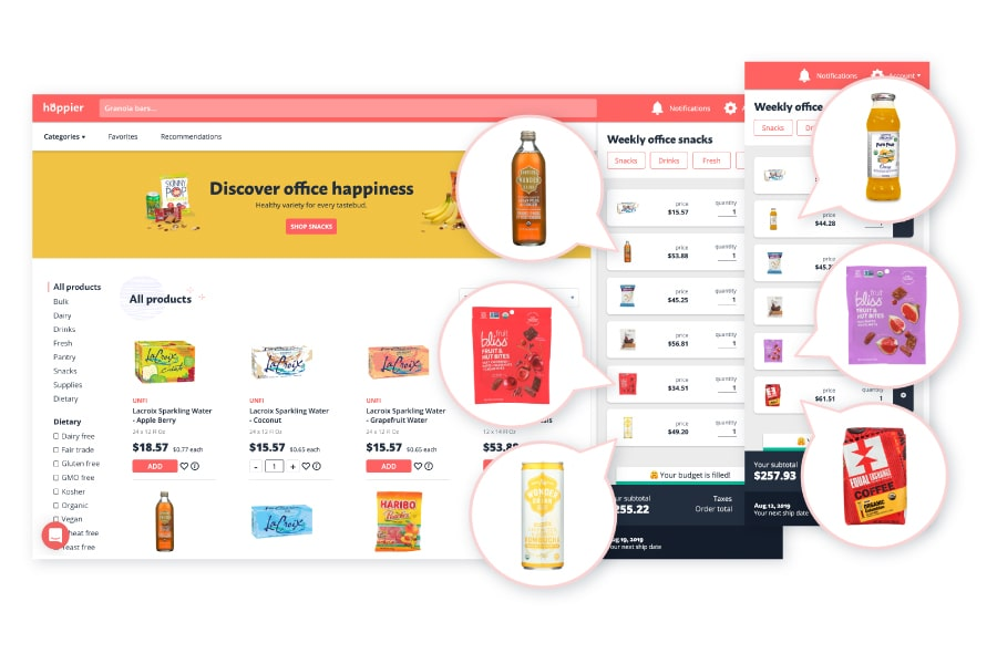 The Hoppier app allows you to switch out products for your upcoming office snack delivery order by choosing healthy office snacks you love and taking out the items you don't want.