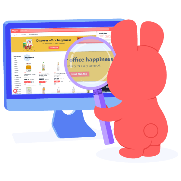 Hoppy looking at a computer to build a healthy office snack program