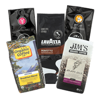 Our office coffee distributors include Organic coffee breakfast blend, Jim's organic coffee, Lavazza and Kicking Horse ground coffee