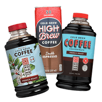 Hoppier's office coffee service includes Kohana french roast cold brew coffee and High brew cold Italian espresso