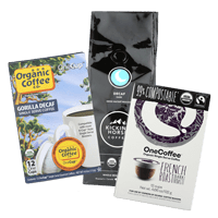 Our office coffee suppliers include One Cup organic coffee, OneCoffee and Kicking Horse organic coffee