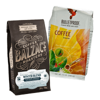Our office coffee distributors include Bulletproof ground coffee and Balzac's Coffee Roasters winter blend