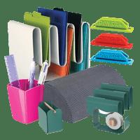 Desk accessories including desk paper organizer, foot rest, pen holder and desk caddy.