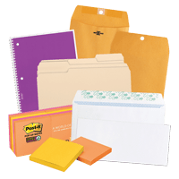 Office stationery supplies including envelopes, post-it notes, notebooks and copy paper