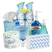 Office bathroom supplies including toilet paper, hand soap, mouth wash and tissues.