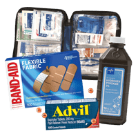 Medical office supplies including Advil, Band-aids and hydrogen peroxide.