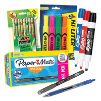 Writing utensils including pens, colored highlighters and dry-erase markers
