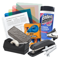 Office supplies including filing folders, tape, stapler and laptop cleaner.