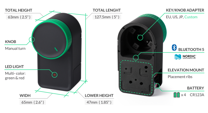 keymitt smart lock specifications and dimensions