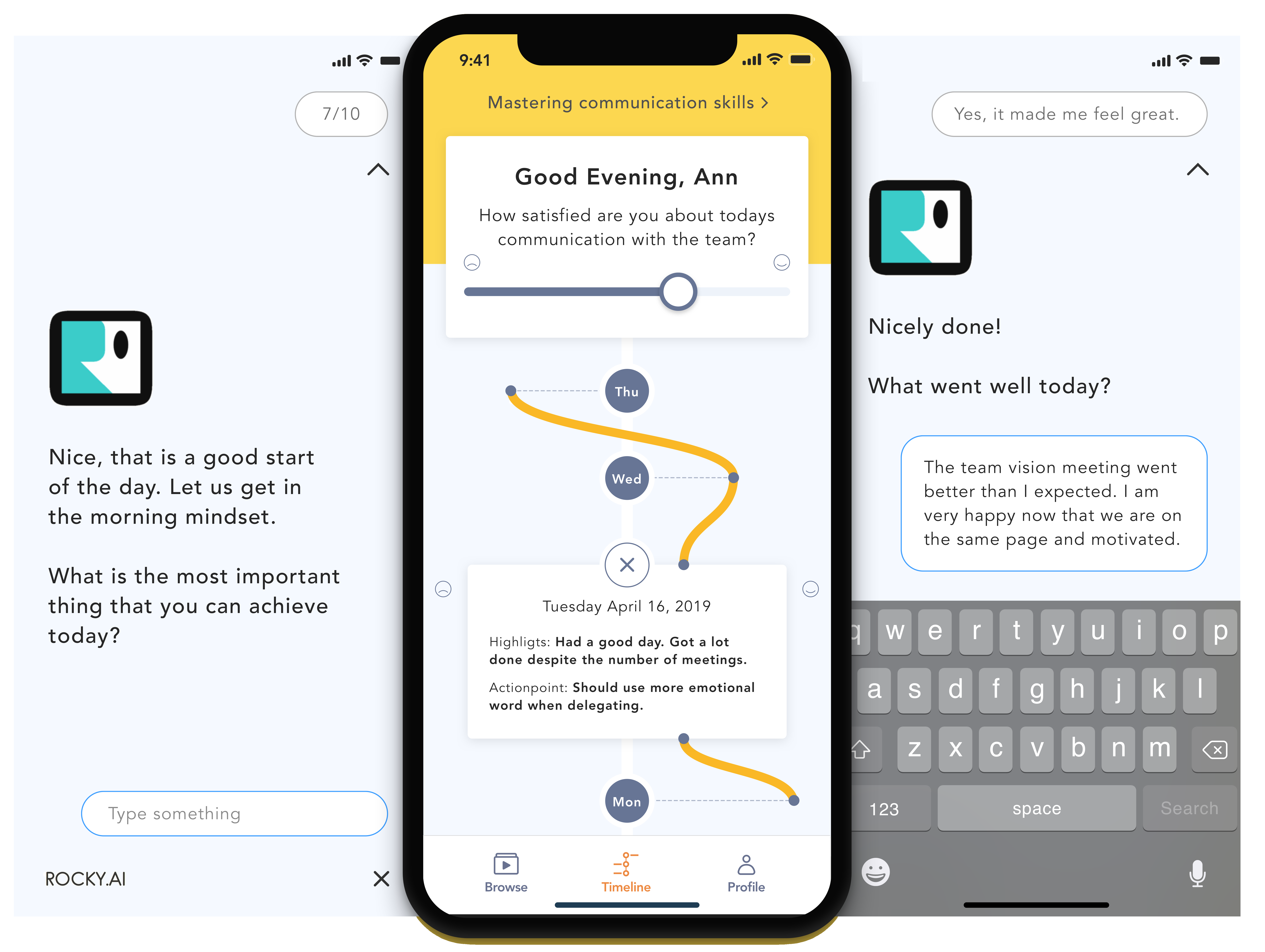 App ROCKY.AI journaling