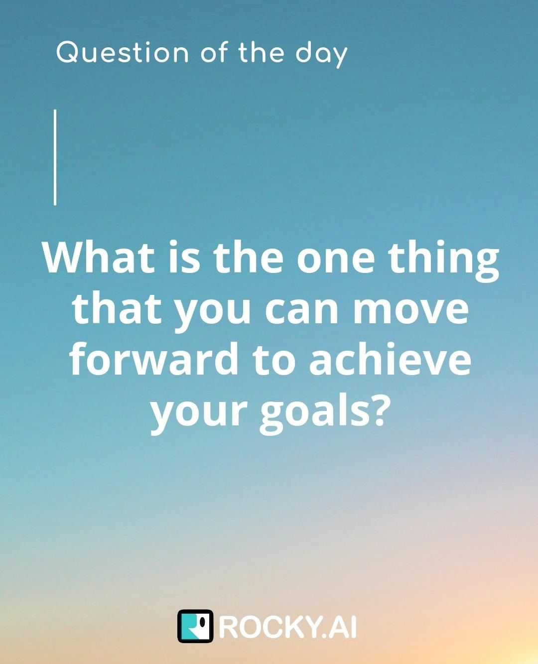What is the one thing that you can move forward to achieve your goals?⠀