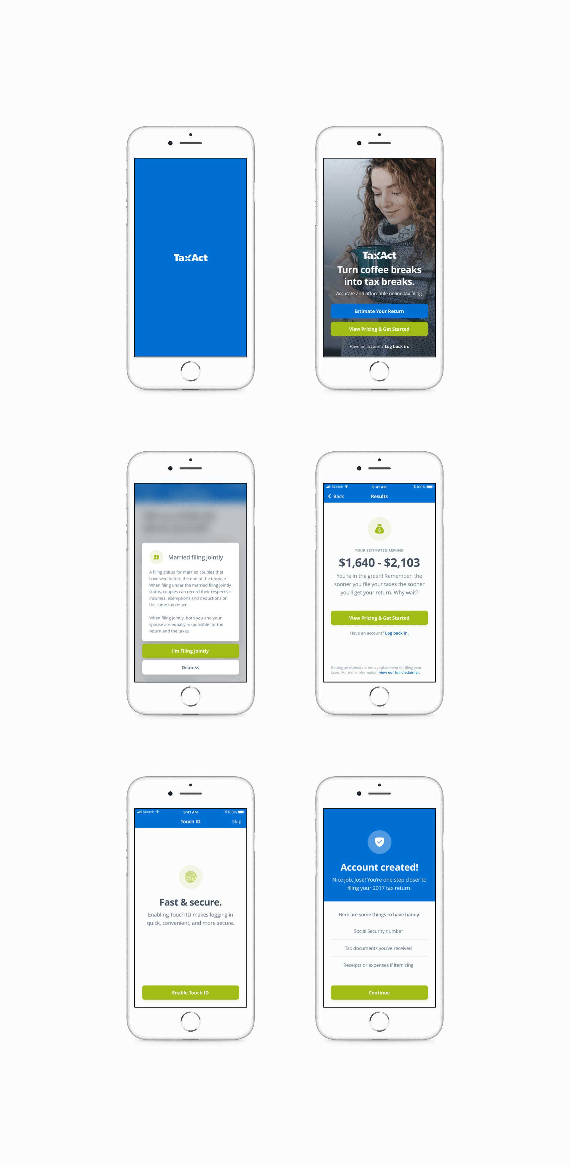 TaxAct Mobile Screens