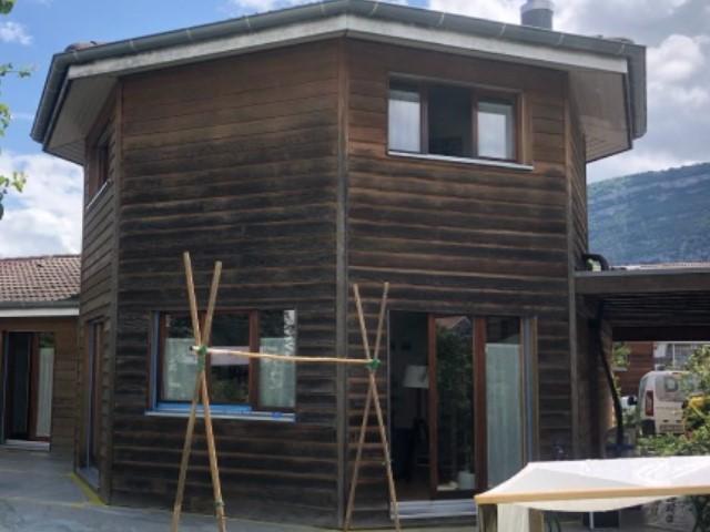 Microgommage d'une villa ossature en bois à Genève