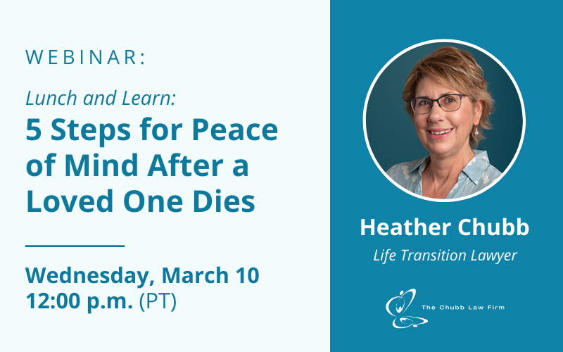 Lunch and Learn: 5 Steps for Peace of Mind After a Loved One Dies