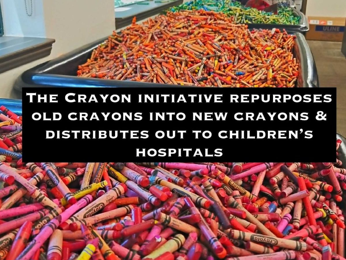 Our restaurants' used crayons are collected, melted down, formed into new crayons, then distributed to Children's Hospitals across the US.
