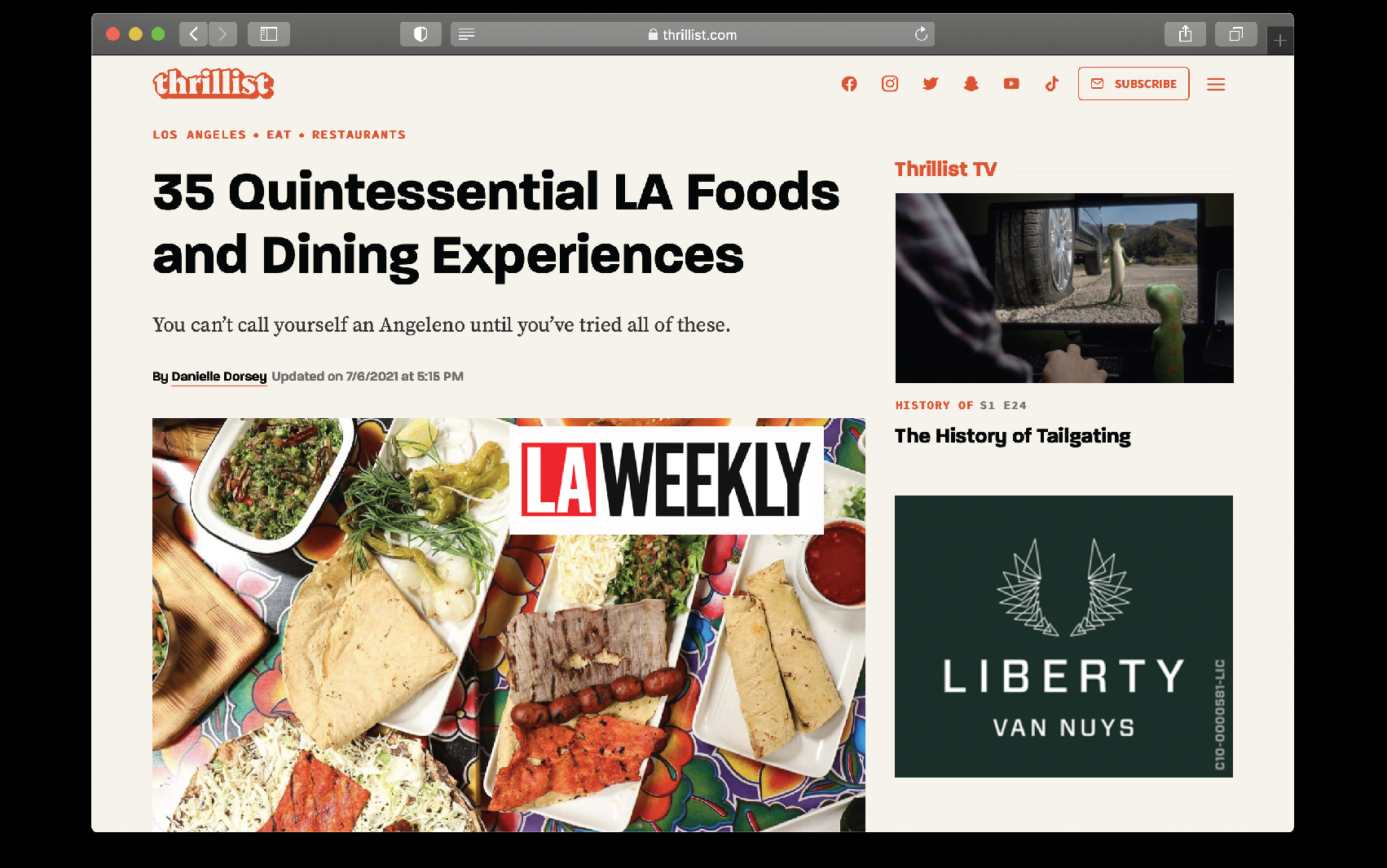 Thumbnail preview of Thrillist article