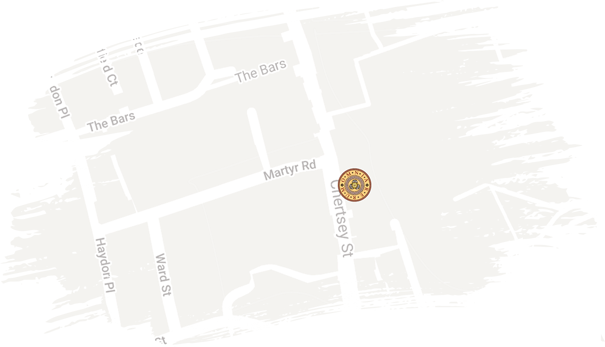 map showing location of omnia in guildford
