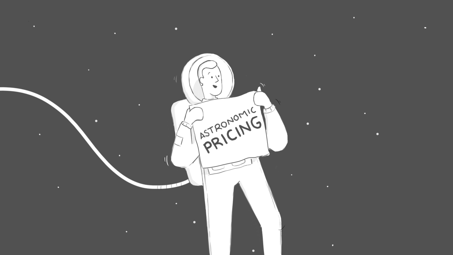 Part of a storyboard made for Parcela Já with astronaut and a Astronomic pricing poster
