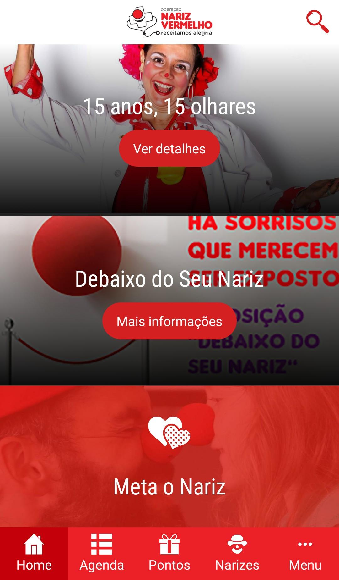 Operação Nariz Vermelho app interface