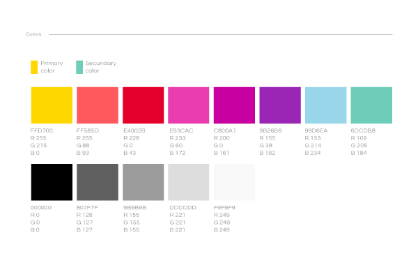 Style Guide colours example