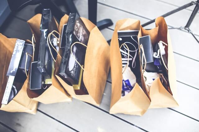 Five shopping paper bags
