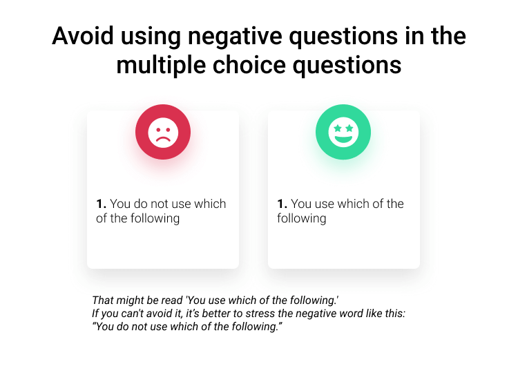 Avoid using negative questions in the multiple choice questions survey