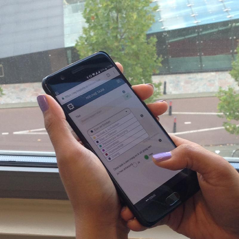 Mantelzorgers of zorgverleners kunnen Tessa instellen via een web-app.
