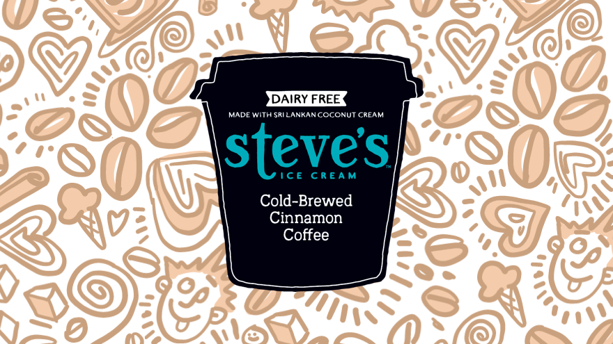 illustrated pint with Steve's logo on doodle background