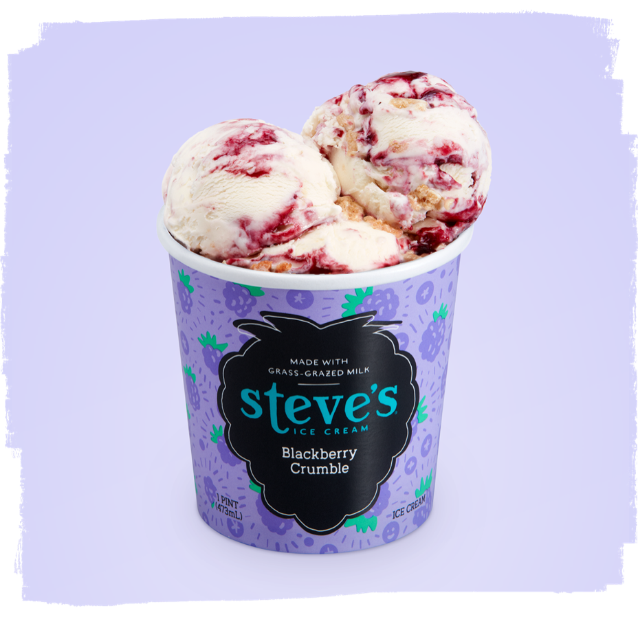 scoops of ice cream in blackberry crumble pint container