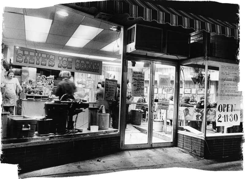 black and white storefront photo