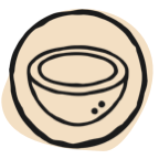 drawing of coconut in circle
