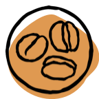 drawing of coffee beans in circle