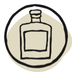 drawing of bottle with label in circle